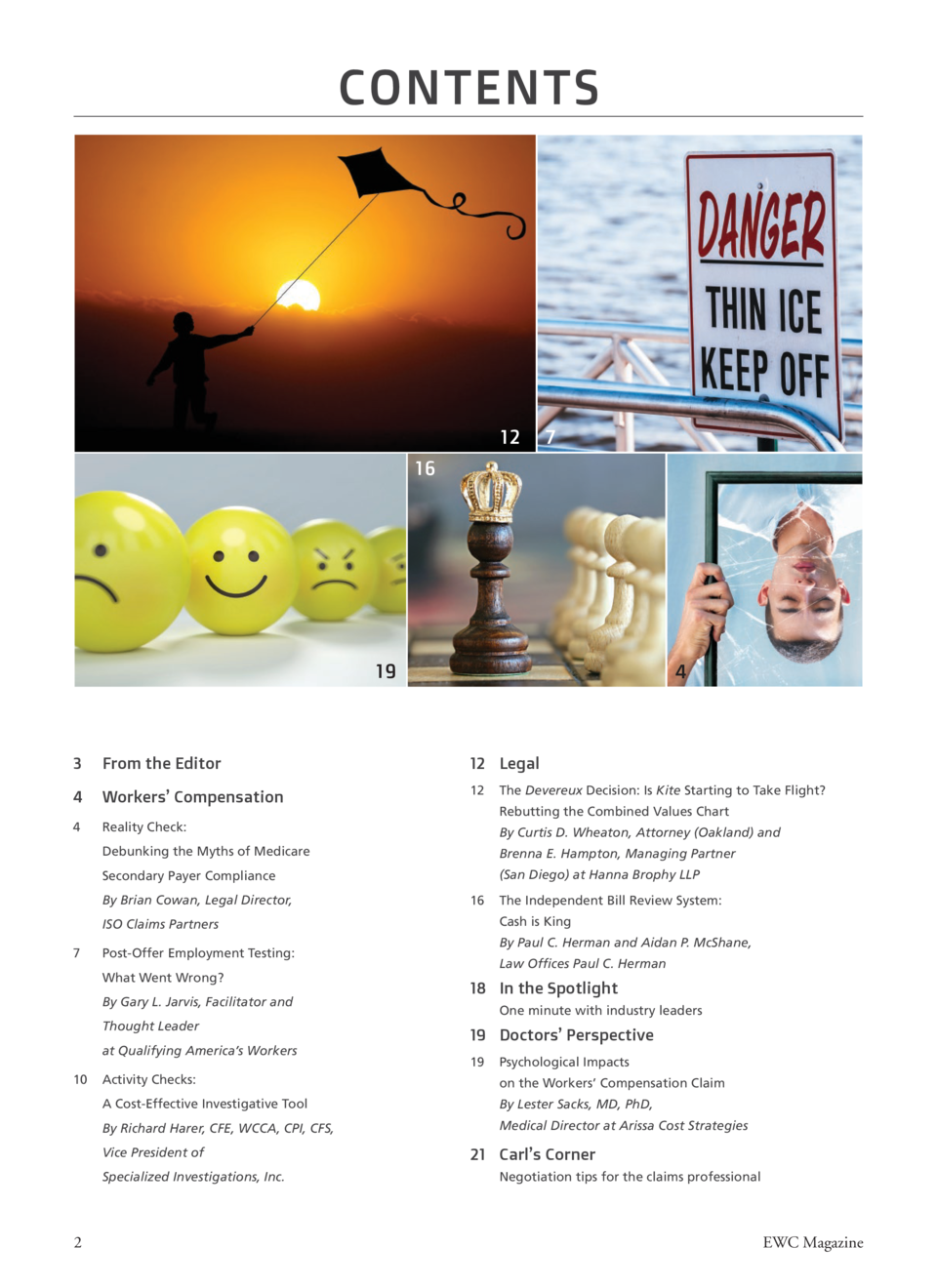 CONTENTS  From the Editor... How We Summer  S  12  7  16  19  4  3   From the Editor  12 Legal  4  Workers    Compensation...